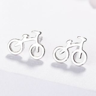 925 Sterling Silver Bicycle Earring As Shown In Figure - One Size from JZ Concept