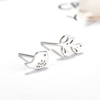 925 Sterling Silver Bird & Leaf Non-matching Earring Silver - One Size from JZ Concept