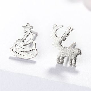 925 Sterling Silver Christmas Tree & Deer Earring As Shown In Figure - One Size from JZ Concept