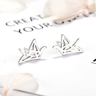 925 Sterling Silver Cutout Paper Cranes Stud Earrings 925 Silver - One Size from JZ Concept