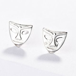 925 Sterling Silver Face Mask-style Earring As Shown In Figure - One Size from JZ Concept