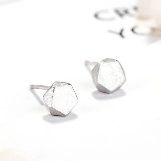 925 Sterling Silver Geometric Stud Earring Silver - One Size from JZ Concept
