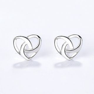 925 Sterling Silver Heart Ear Stud Silver - One Size from JZ Concept
