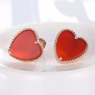 925 Sterling Silver Heart Earring Red & Rose Gold - One Size from JZ Concept