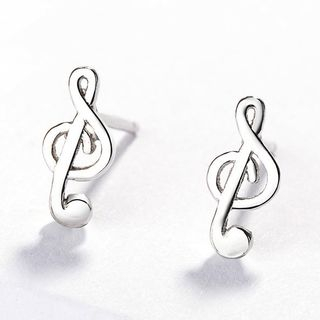 925 Sterling Silver Music Note Earring As Shown In Figure - One Size from JZ Concept