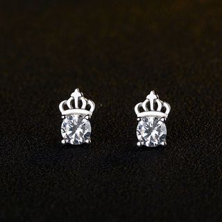 925 Sterling Silver Rhinestone Crown Earring from JZ Concept
