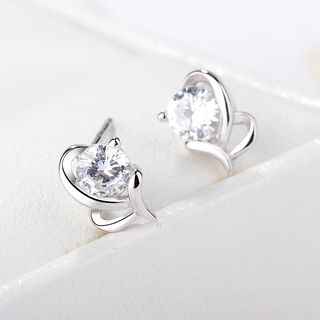 925 Sterling Silver Rhinestone Earring Silver - One Size from JZ Concept