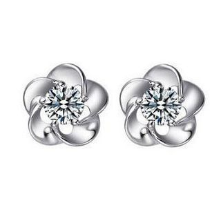 925 Sterling Silver Rhinestone Flower Stud Earring from JZ Concept