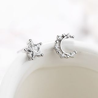 925 Sterling Silver Rhinestone Moon & Star Earring As Shown In Figure - One Size from JZ Concept