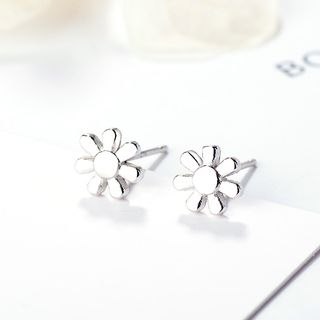 Flower Ear Stud 925 Silver - As Shown In Figure - One Size from JZ Concept