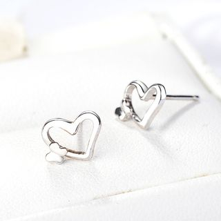 Heart Ear Stud 925 Silver - As Shown In Figure - One Size from JZ Concept