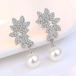 Leaf Faux Pearl Earring from JZ Concept