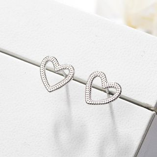 Non-matching 925 Sterling Silver Heart Earring Silver - One Size from JZ Concept