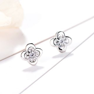 Rhinestone Flower Stud Earring 925 Silver - One Size from JZ Concept
