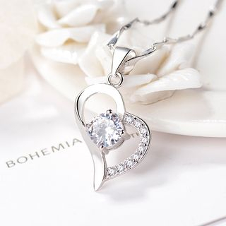 Silver Rhinestone Heart Pendant Necklace Silver - One Size from JZ Concept