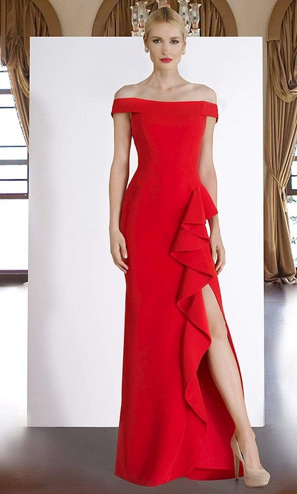 Janique - C1870 Ruffled Off-Shoulder Sheath Dress In Red from Janique
