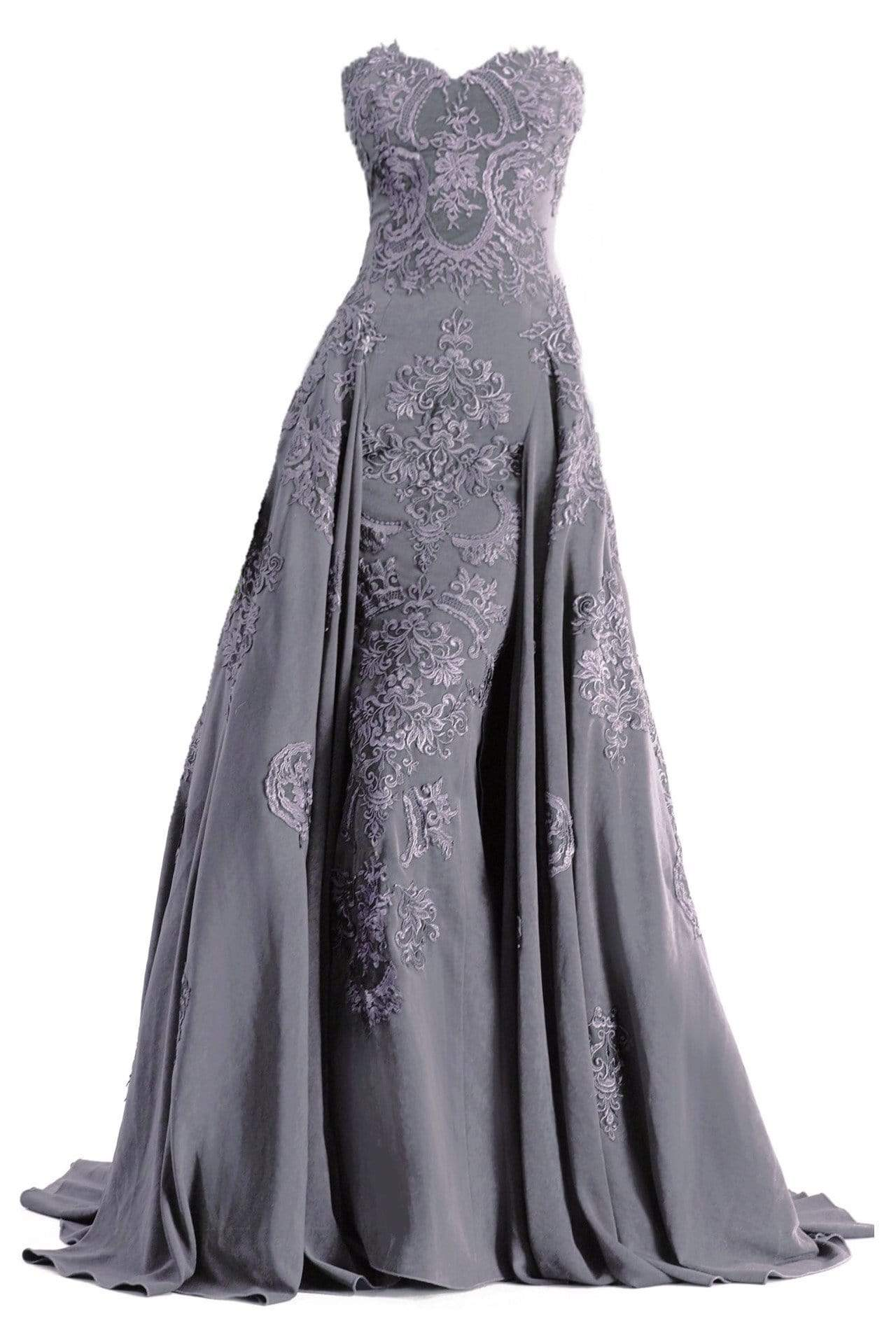 Janique - Embroidered Straight Neck A-line Gown W1691 from Janique