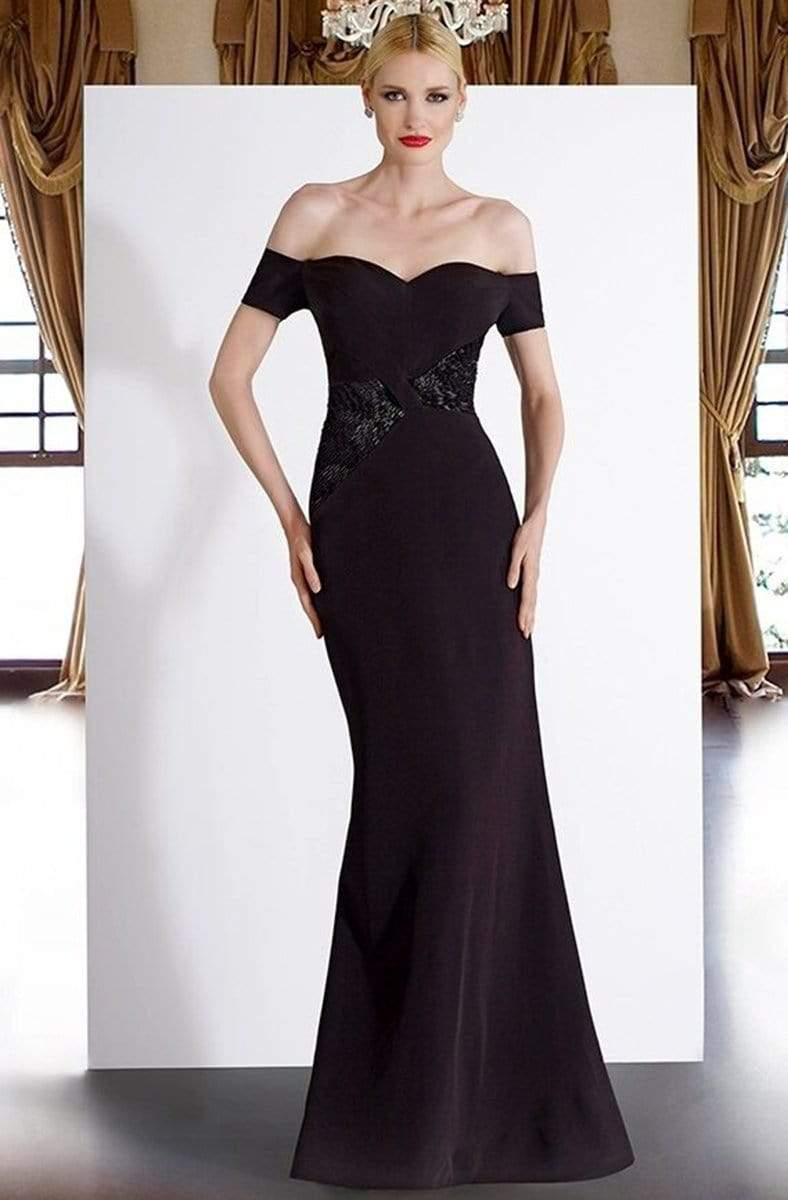 Janique - JA3026 Off-Shoulder Crepe Evening Dress In Navy from Janique