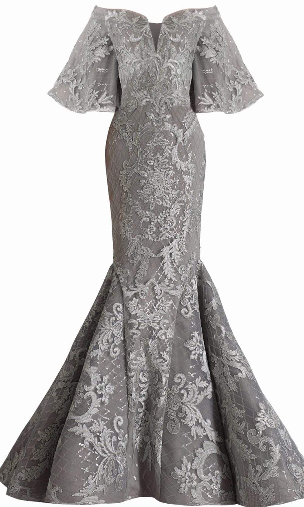 Janique - JA4013 Off-Shoulder Mermaid Evening Dress In Silver from Janique