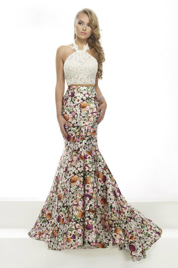 Janique - Lace Halter Trumpet Two-Piece Evening Gown with Floral Prints JA2004 from Janique