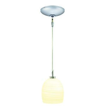 Jesco Lighting KIT-QAP126-WH-A Faris Pendant-Satin Chrome finish-Hand brushed glass, white interior Monopoint Round Canopy from Jesco Lighting