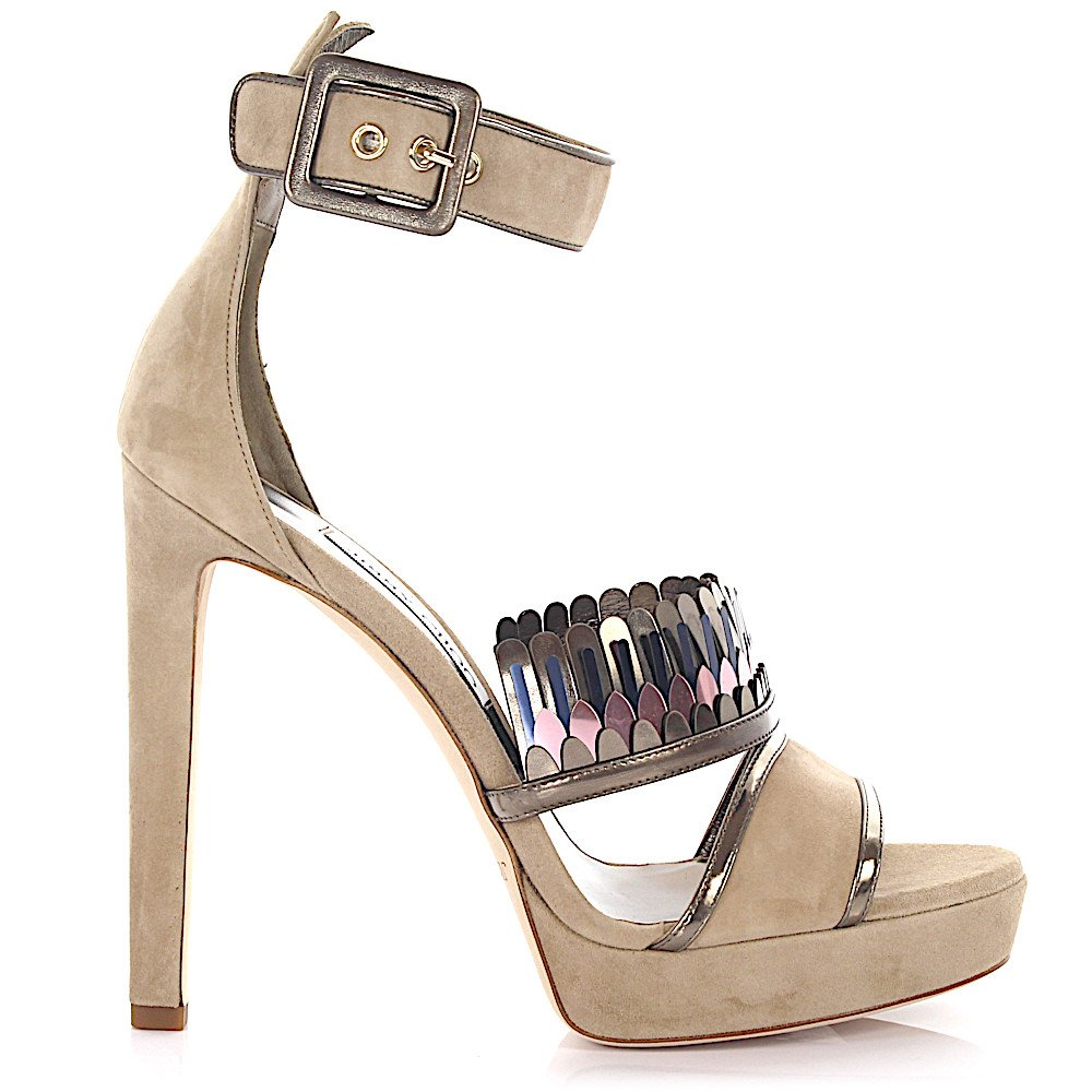 Jimmy Choo Women High Heels calfskin smooth leather suede Fringe beige gold pink - Women size: 8 from Jimmy Choo