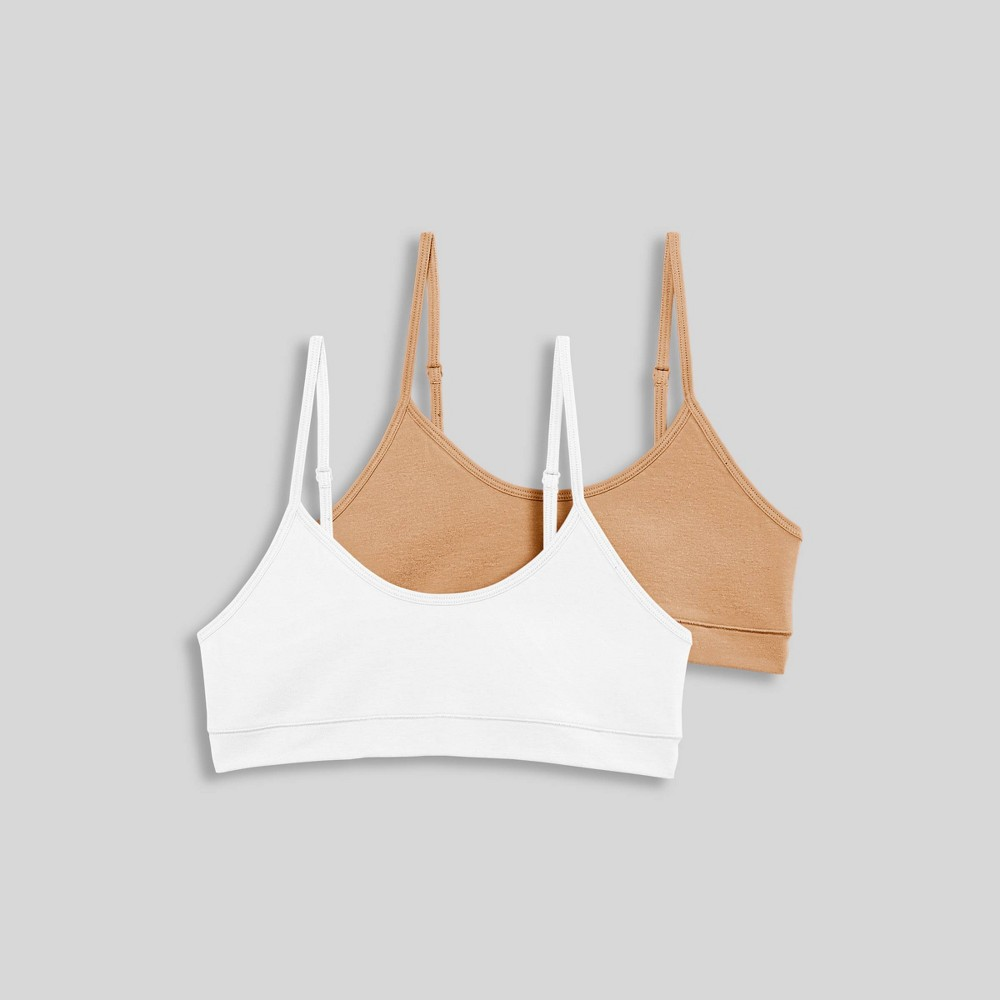 Jockey Generation Girls' Cotton Stretch Bralette -Nude/White XL from Jockey Generation
