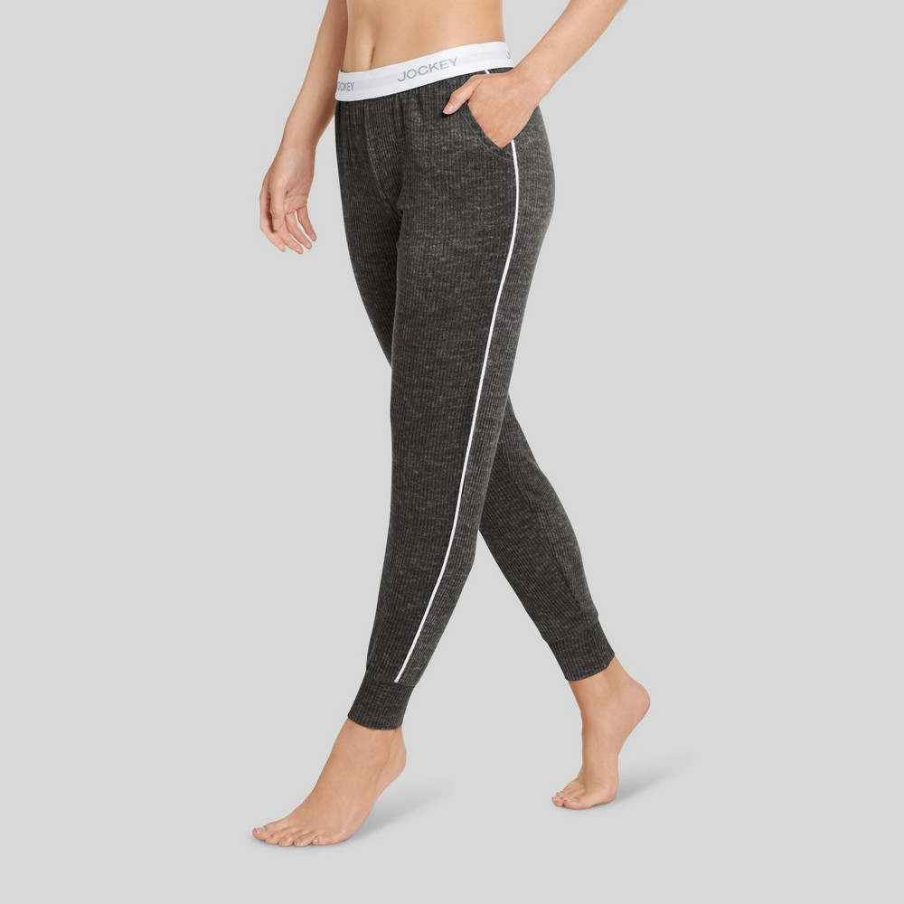 Jockey Generation Women's Retro Vibes Ribbed Jogger Pajama Pants - Charcoal Heather M, Grey Grey from Jockey Generation