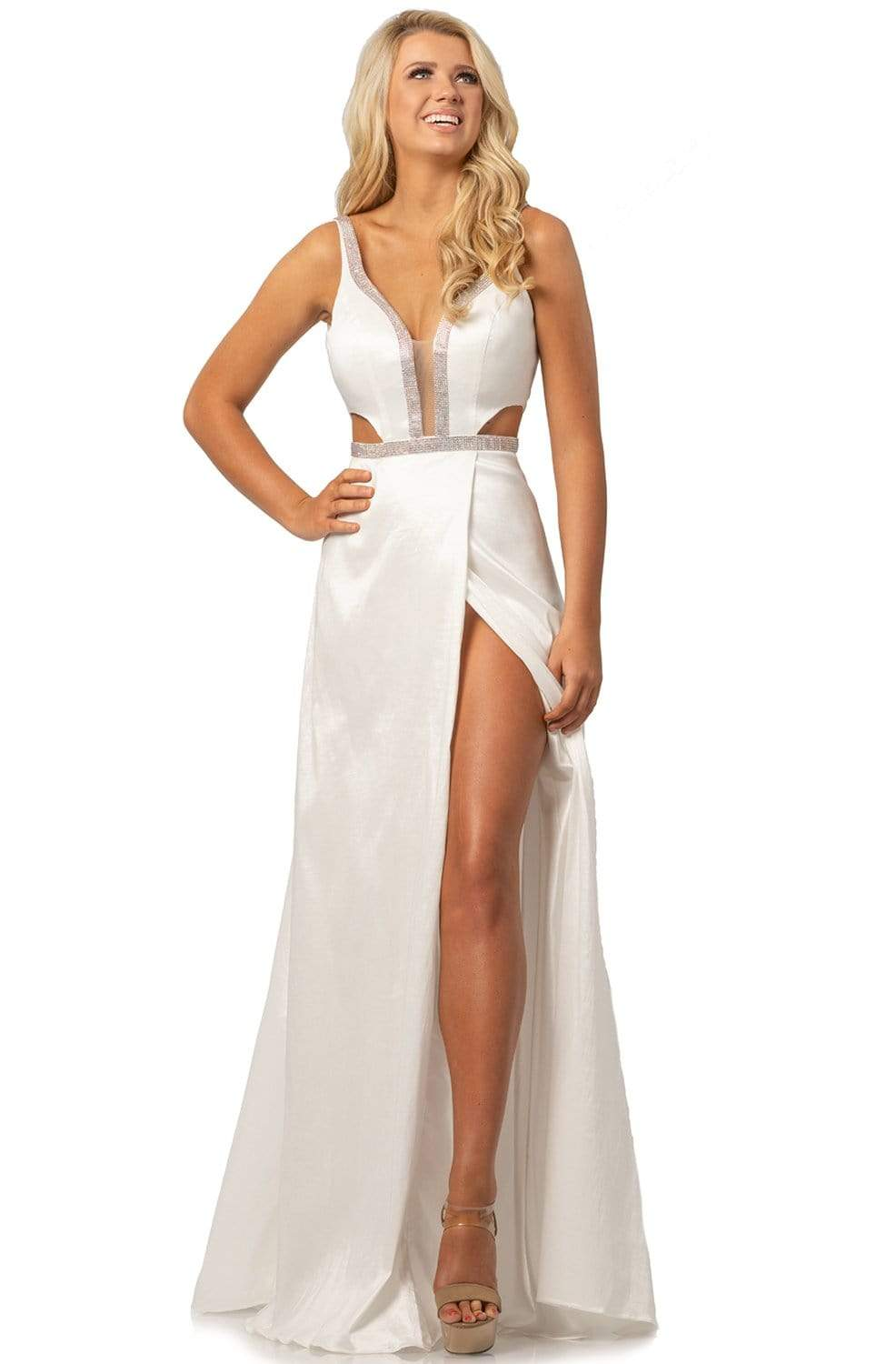 Johnathan Kayne - 2012 Plunging V-Neck Cutout High Slit Gown from Johnathan Kayne