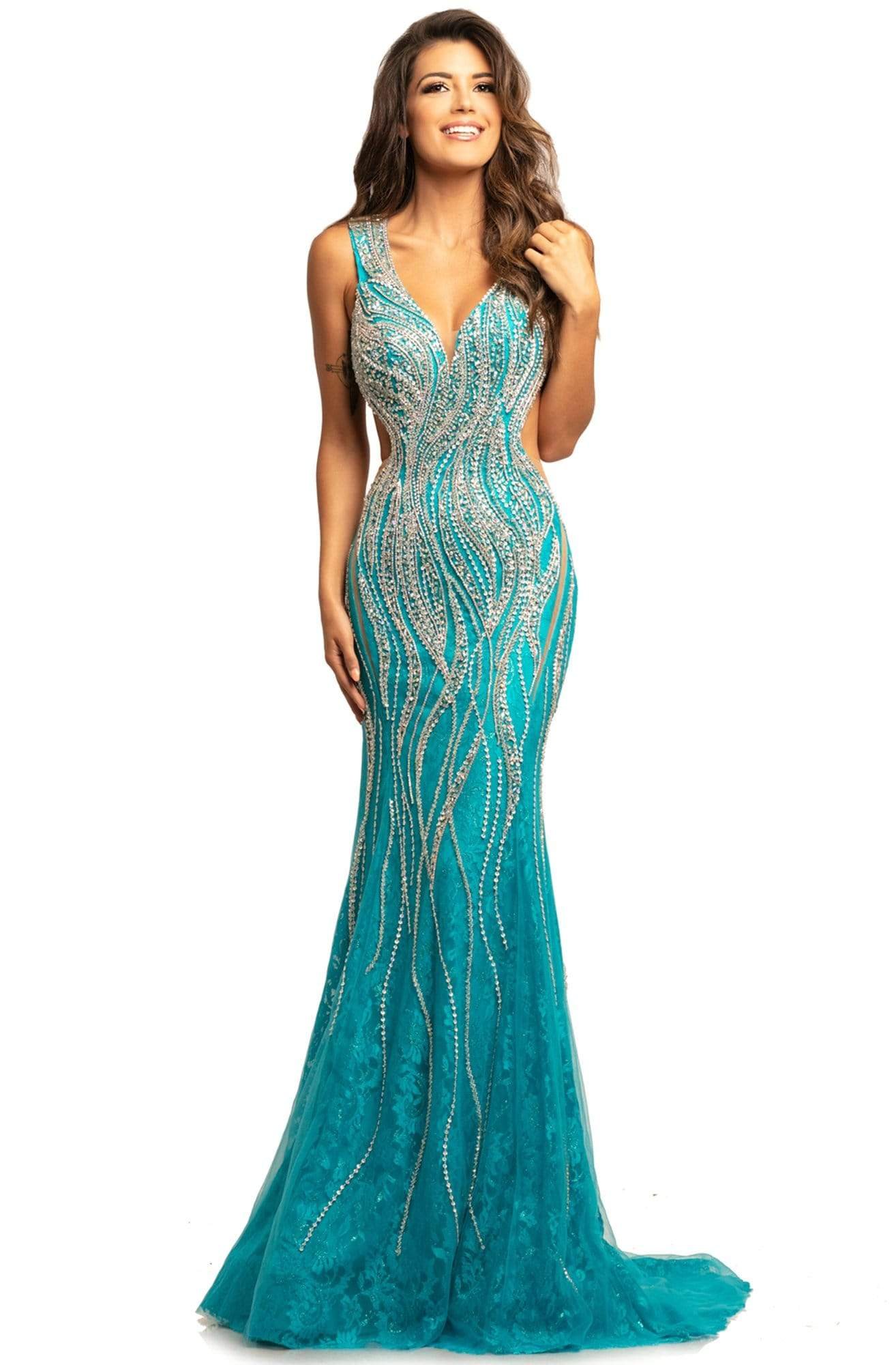 Johnathan Kayne - 2041 Bedazzled Plunging V-neck Trumpet Dress from Johnathan Kayne