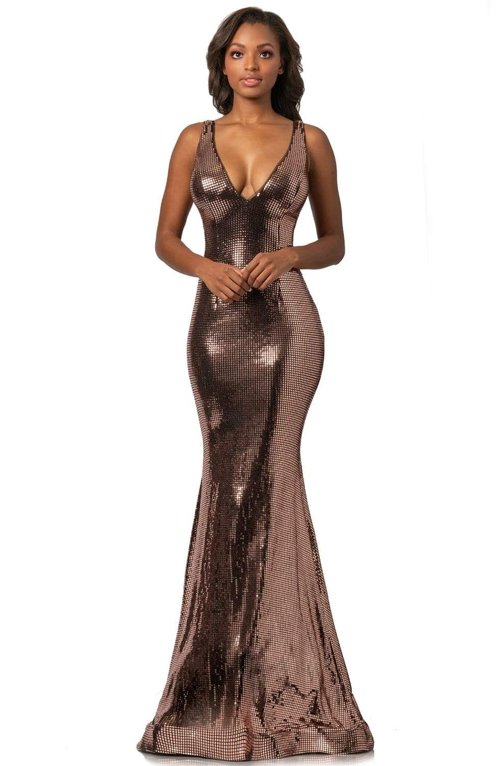 Johnathan Kayne - 2044 Sequin-Ornate Plunging Bodice Mermaid Gown from Johnathan Kayne