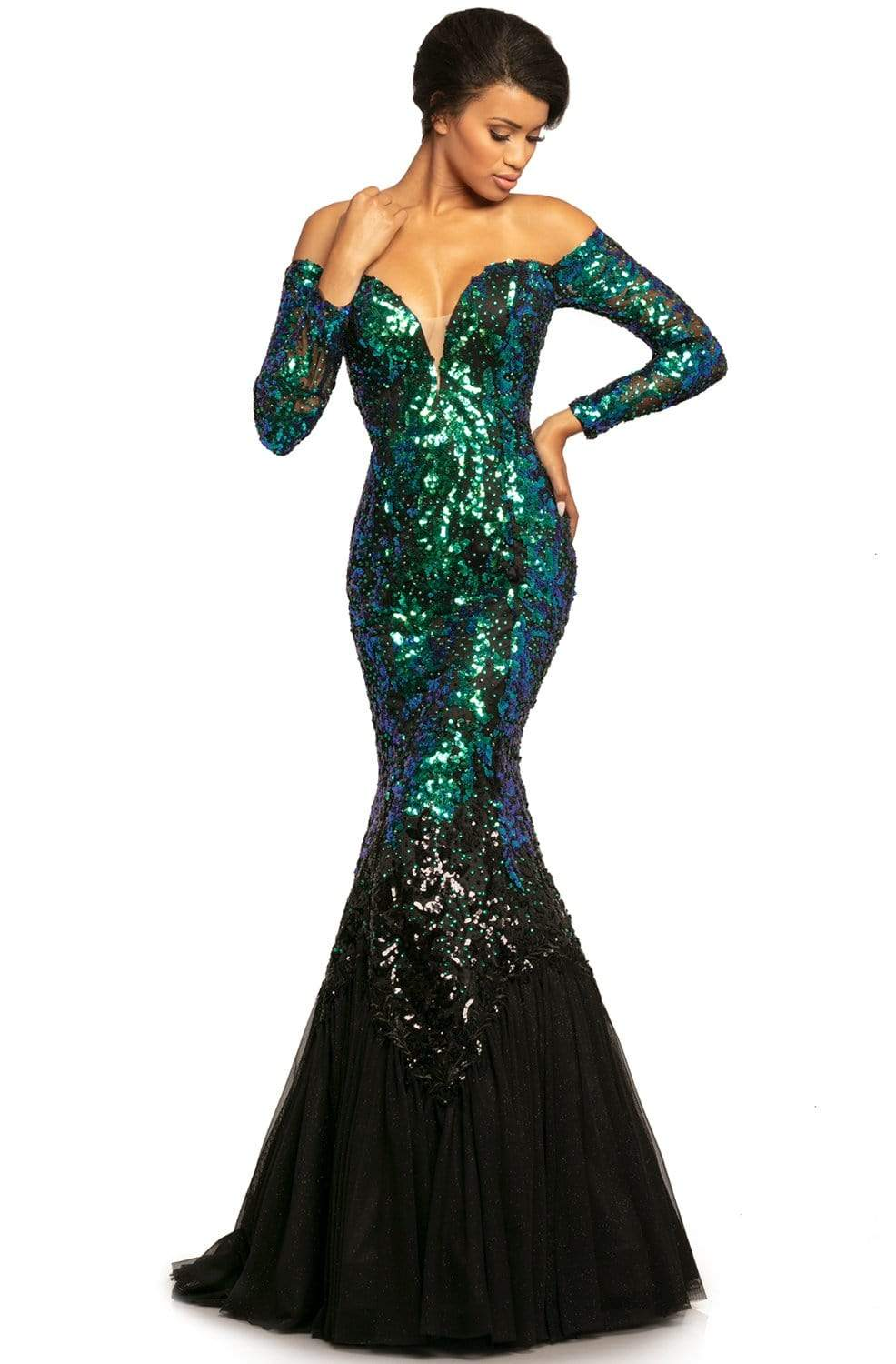 Johnathan Kayne - 2062 Long Sleeve Ombre Embellished Mermaid Gown from Johnathan Kayne