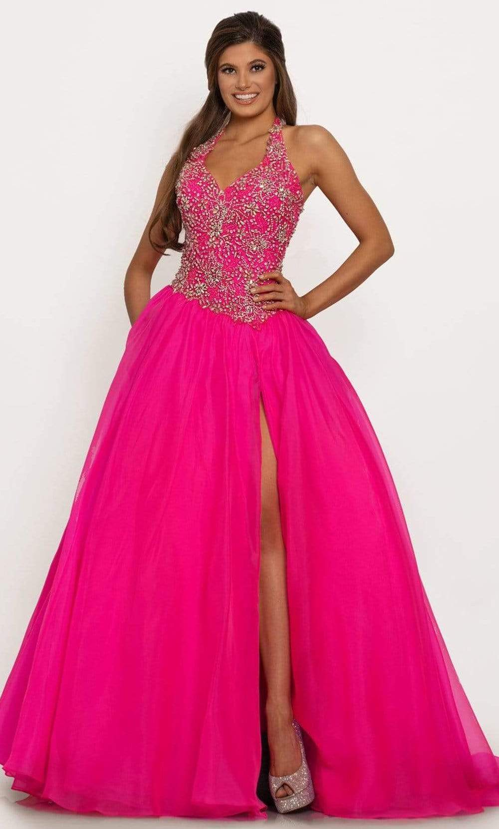 Johnathan Kayne - 2227 Bedazzled Halter Neck Ballgown from Johnathan Kayne