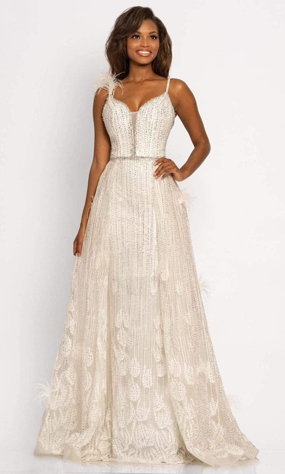 Johnathan Kayne - 2252 Beaded Fringe A-Line Evening Gown from Johnathan Kayne