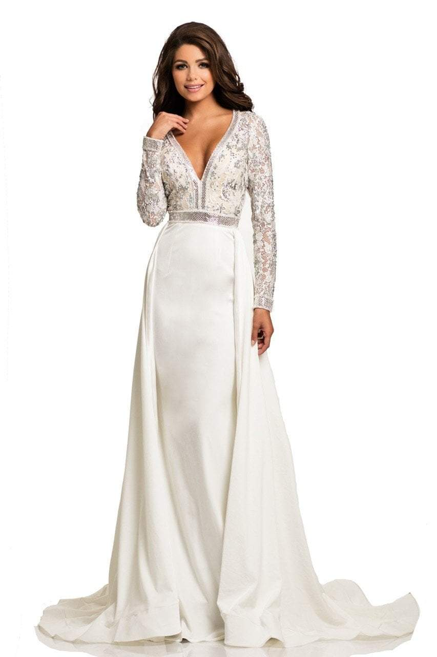 Johnathan Kayne - 8013 Embellished Lace Velvet Gown from Johnathan Kayne