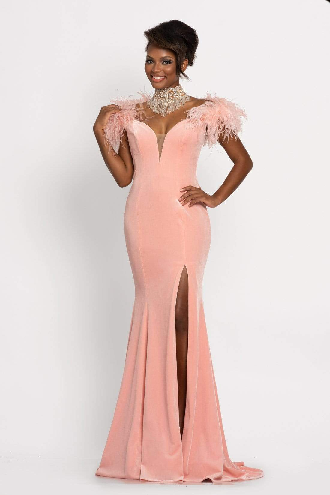 Johnathan Kayne - 9249 Velvet Feathered Sleeves Trumpet Gown from Johnathan Kayne