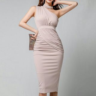 Cutout-Shoulder Slit Bodycon Dress from Jolly Club