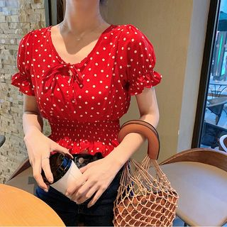 Dotted Chiffon Smocked-Waist Cropped Blouse from Jolly Club