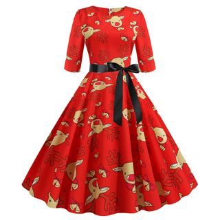 Elbow-Sleeve Reindeer-Print Sashed A-Line Dress from Jolly Club