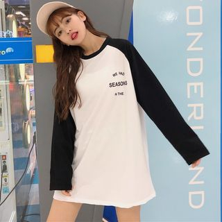 Lettering Long-Sleeve Raglan T-Shirt from Jolly Club