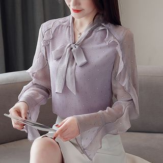 Long-Sleeve Glitter Ruffled Chiffon Ribbon Blouse from Jolly Club