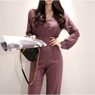 Long-Sleeve V-Neck Jumpsuit from Jolly Club