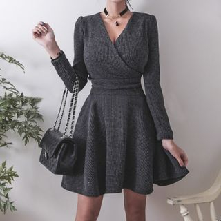 Long-Sleeve V-Neck Mini A-Line Knit Dress from Jolly Club