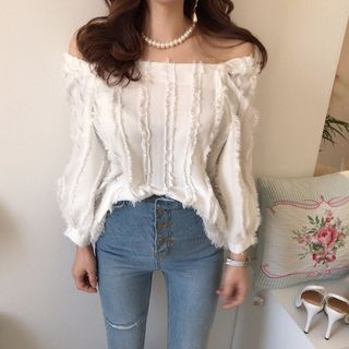 Puff-Sleeve Fringed Blouse from Jolly Club
