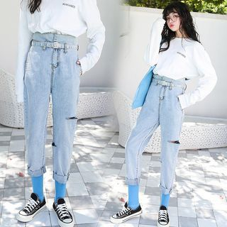 Ripped Harem Jeans With Belt from Jolly Club