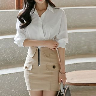 Set: Puff-Sleeve Shirt + Zip Pencil Skirt from Jolly Club