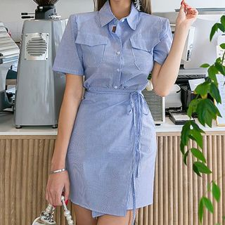 Short-Sleeve Striped Mini Shirtdress from Jolly Club