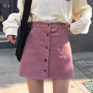 Single-Breasted Corduroy Mini Skirt from Jolly Club