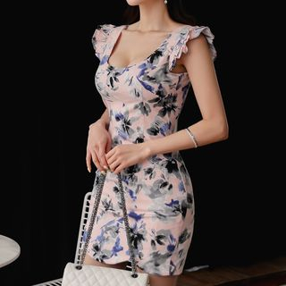 Sleeveless Floral Printed Sheath Dress from Jolly Club