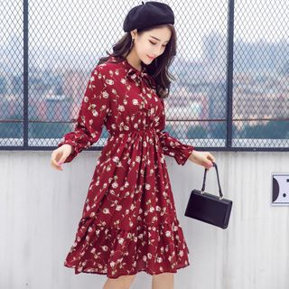 Tie-Neck Floral Midi Dress from Jolly Club
